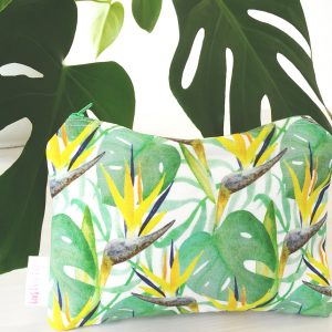 Tropical pattern print pencil case, zipped pouch or make-up bag